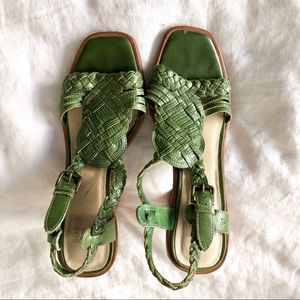 Frye Green Woven Leather Heeled Sandals Sz 6.5
